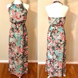 Jessica Simpson Sz 2 floral halter maxi dress